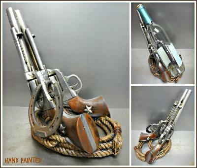 Rustic COWBOY Six Shooter Pistol Gun Wine Beer Bottle Holder WESTERN DECOR Gift Cowboy Wine Bottle Holder
