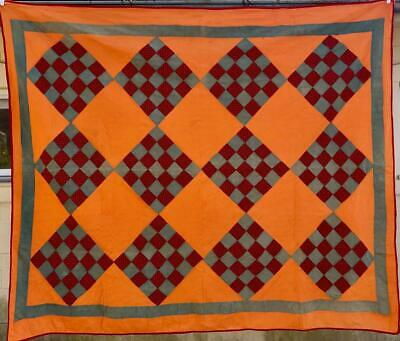 Unfinished Quilt Backing and Binding Included Handmade Quilt Top 78 by 66 Turquoise Brown and Beige  Prints Twin Size or Wallhanging