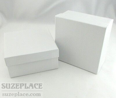 2 White Swirl Gift Boxes Cotton Fill 3 34 X 3 34 X 2 Necklace Earring Jewelry
