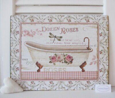 Bad Badezimmer Bild (Blech-Bild Schild LE BAIN Badewanne Rosen Bad Badezimmer Landhaus Shabby Vintage)