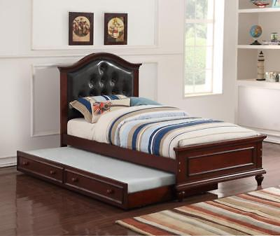 Cherry Wood Twin Beds - KAYLA CHERRY FINISH WOOD ESPRESSO BYCAST LEATHER TWIN SIZE BED w/ TWIN TRUNDLE