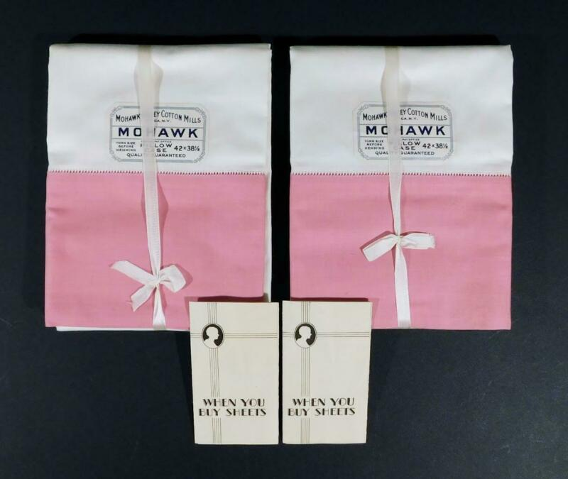 New Antique Pair MOHAWK VALLEY COTTON MILLS Pink & White Pillowcases, Dated 1932