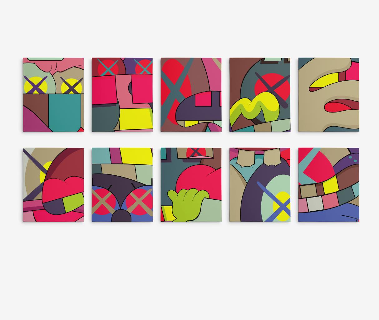 "11""X14"" Each Kaws Gallery Art Canvas Ups & Downs Pop Art- 10 PC Set Contemporary"