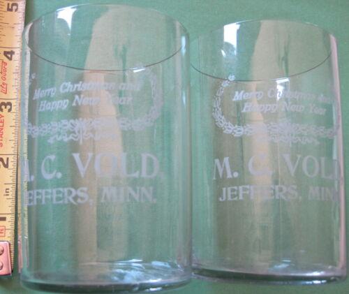 2 Glass Tumblers - Souvenir - Jeffers Minnesota -  M. C. Vold