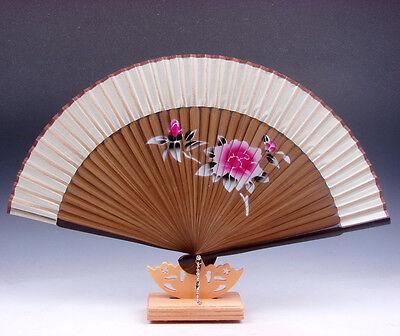 Bambú Plegables Mano Ventilador Peony Flores Fiesta Boda Favor Gratis Soporte #