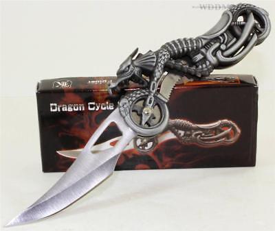 Dragon Chopper Biker Motorcycle Fantasy Linerlock Folding Pocket -
