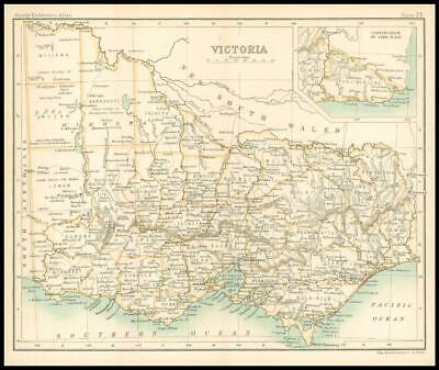 c1912 Map of VICTORIA Chart Regions Australia (BS75)