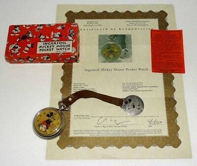 "EX!DISNEY1934 INGERSOLL""MICKEY MOUSE POCKET WATCH""-SERVICD+GUARANTE SLIP+COA+BOX"
