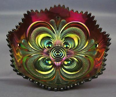 CARNIVAL GLASS - IMPERIAL SCROLL EMBOSSED Brilliant Amethyst Round Bowl