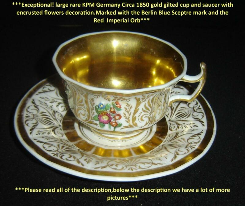 Antique Exceptional Germany KPM Porcelain Large Cup And Saucer With Gold Gilt.