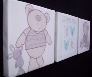 3X DEEP EDGE CANVAS PICTURES BABIES R US I LOVE MY BEAR 6