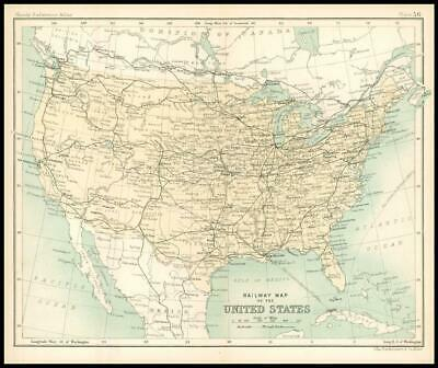 c1912 Railway Map of the UNITED STATES Chart Regions (BS61)