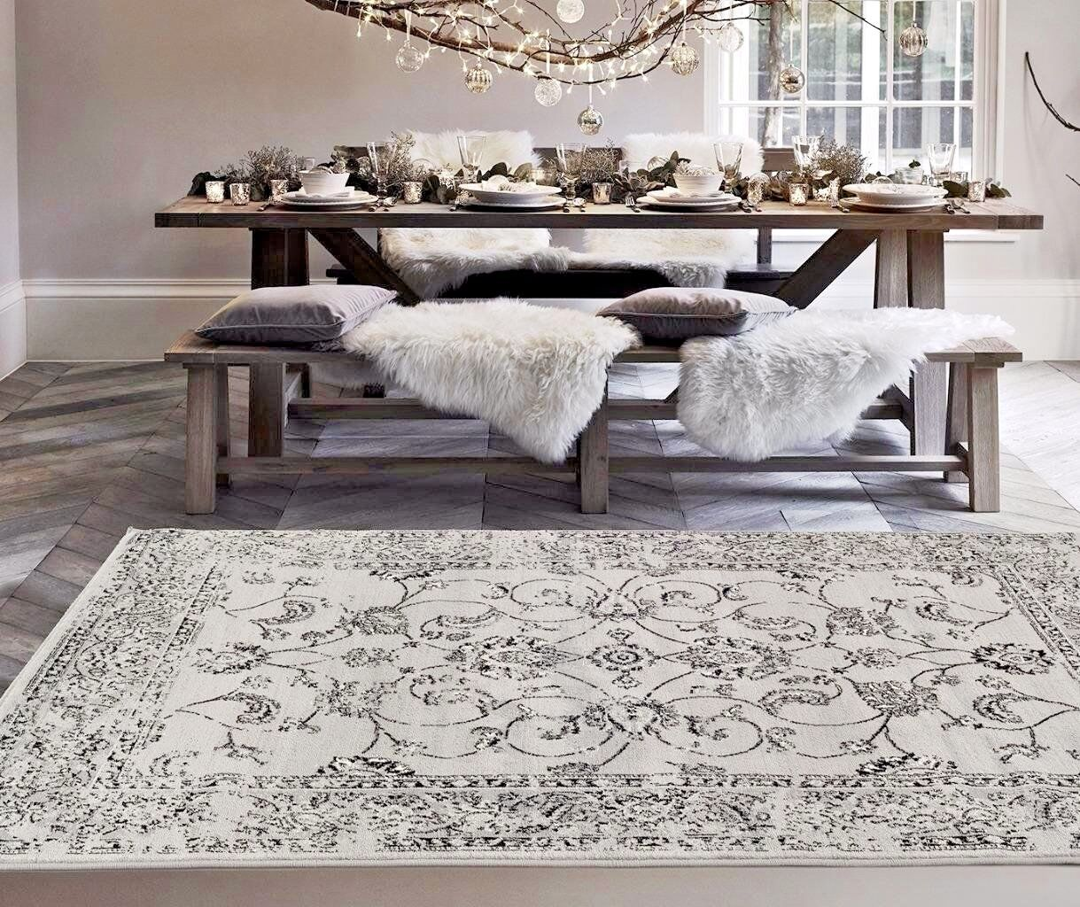 Rugs Area Carpet Large 8x10 Rug Oriental Persian Gray Floor