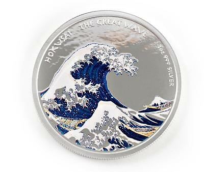 Hokusai Great Wave (2017 1oz Hokusai Great Wave Off Kanagawa .999 Silver Color PROOF Coin)