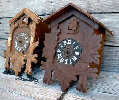 Vintage 2 German Small Carved Wood Cuckoo Clocks For Parts or Repair Replacement