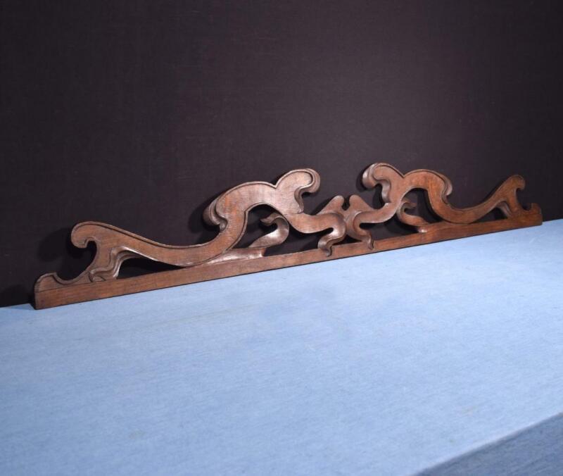 """*52"""" French Antique Art Nouveau Solid Oak Wood Pediment/Crest Salvage"""
