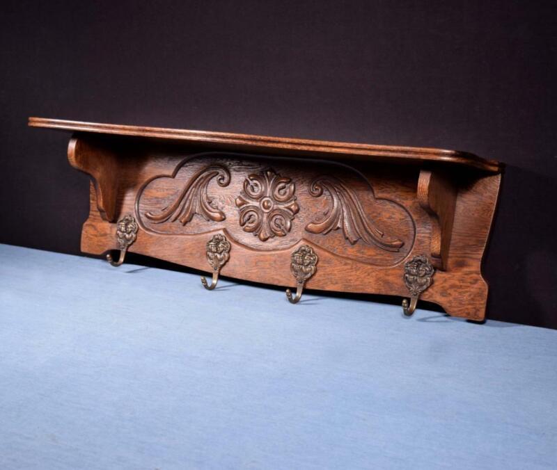 "*32"" Vintage French Oak Coat Rack/Wood Shelf with Brass Hooks"