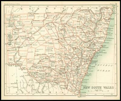 c1912 Map of NEW SOUTH WALES Chart Regions Australia (BS76)