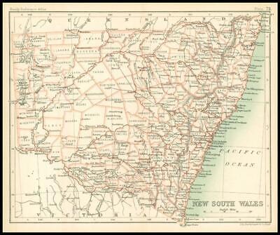 c1912 Map of NEW SOUTH WALES Chart Regions Australia (BS76)