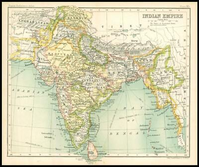 c1912 Map of the INDIAN EMPIRE Chart Regions (BS39)