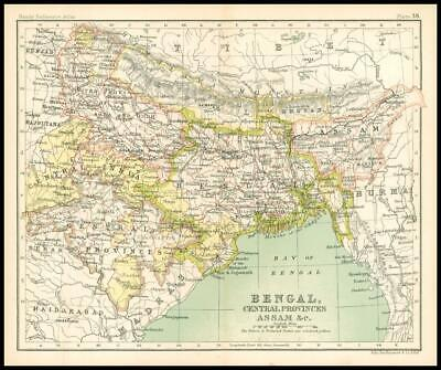 c1912 Map of BENGAL, CENTRAL PROVINCES ASSAM & C Chart Regions (BS42)