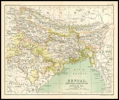 c1912 Map of BENGAL, CENTRAL PROVINCES ASSAM & C Chart Regions (BS42)