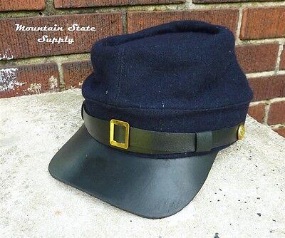 US Civil War Reenactors Union North Army Navy Blue Wool Kepi Hat Cap Size XL