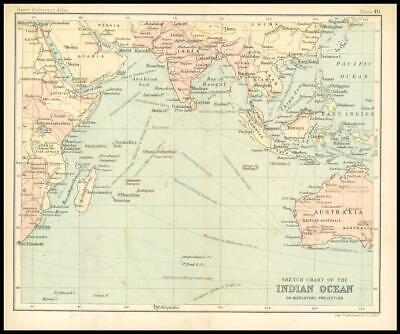 c1912 Sketch Chart of the INDIAN OCEAN on Mercators Projection Map Region (BS44)