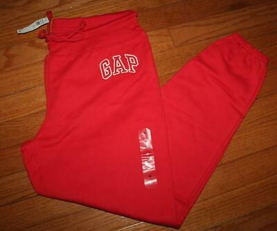 NEW NWT Womens GAP LOGO Joggers Sweat Pants Lounge Fleece Sweatpants Red *F3