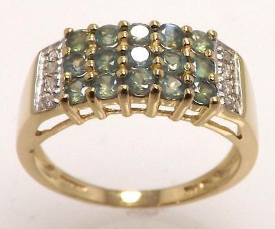 14K YELLOW GOLD GENUINE ROUND GREEN SAPPHIRE & DIAMOND BAND STYLE RING SIZE 9