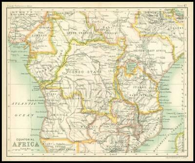 c1912 Map of EQUATORIAL AFRICA Chart Regions (BS52)