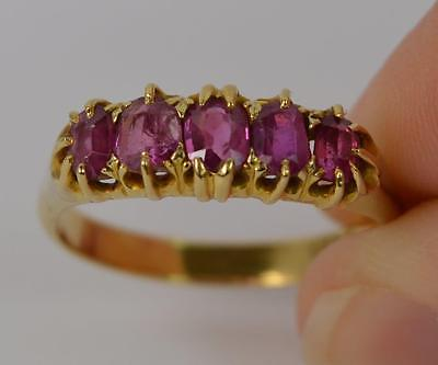 Victorian 18ct Gold and Ruby Five Stone Design Ring d0768