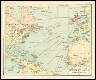 c1912 Sketch Chart of the NORTH ATLANTIC on Mercators Projection Map (BS54)