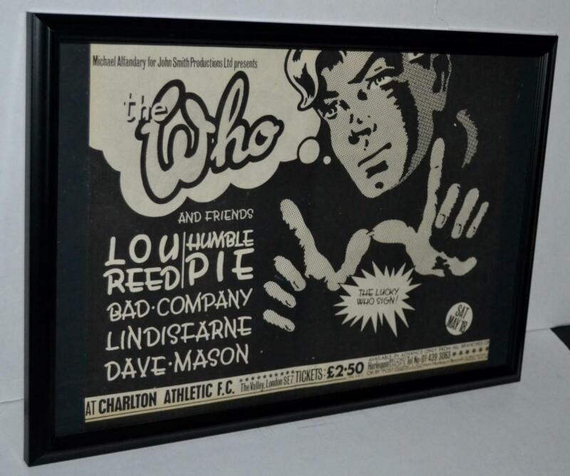 THE WHO 1974 LOU REED HUMBLE PIE FRAMED PROMOTIONAL CONCERT POSTER / AD