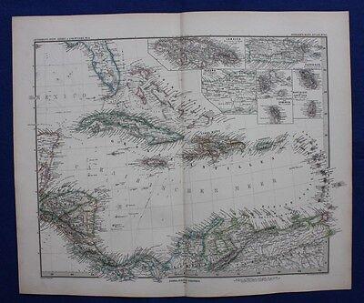 CARIBBEAN, CUBA, BAHAMAS, JAMAICA, HAITI, original antique map, Stieler,1880