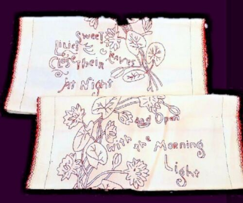 Antique Redwork Embroidery Linen Pillow Layover Victorian Set 2 Sweet Lilies