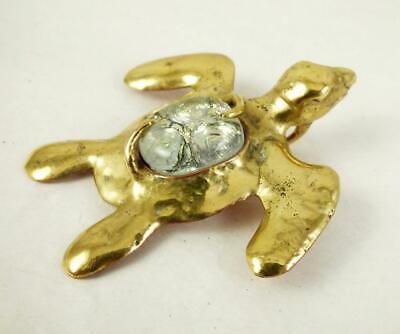 Handmade Brass & Copper SEA TURTLE & Silver Art Glass Belly Pendant 2