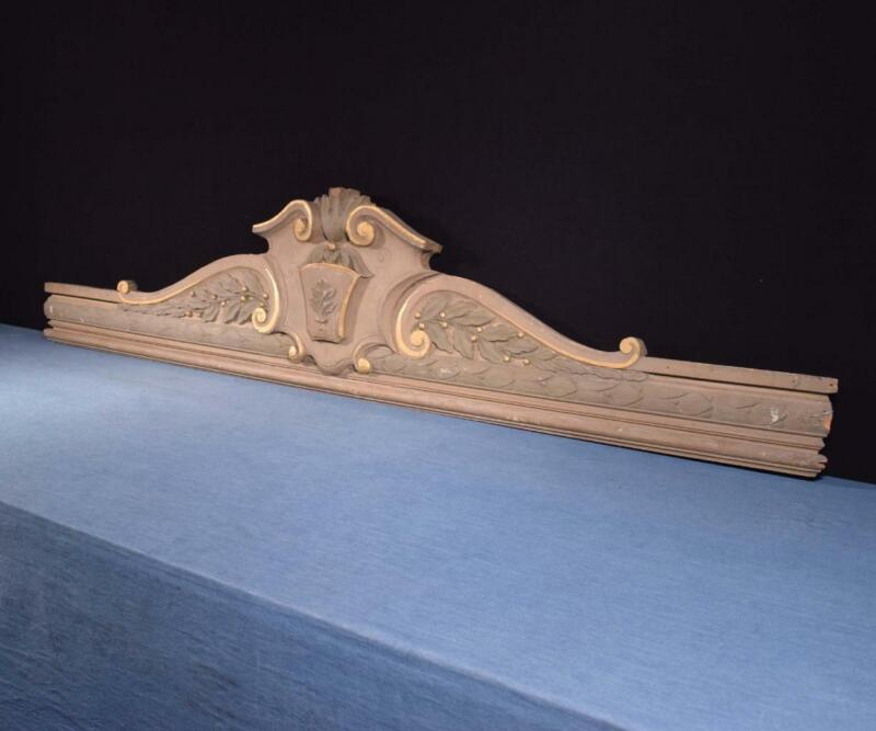 """*66"""" French Antique Pediment/Crest/Crown Painted Solid Wood Salvage"""