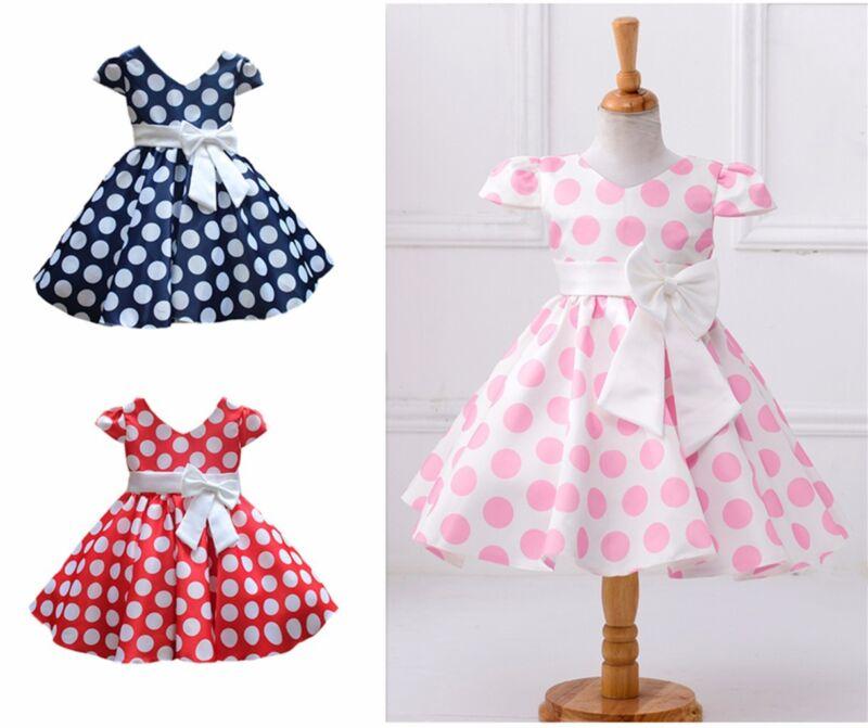 Little Girls Princess Dress Casual Puff Vintage Polka Dot Bow Skirt 1-10 Years
