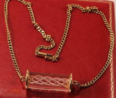 RARE STEUBEN AIR TWIST GLASS 14K CHOKER CHAIN NECKLACE PENDANT IN ORIGINAL BOX (14k Twisted Jewelry Box)