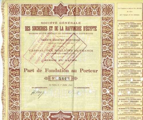 Antique Share Societe generale des sucreries et de la raffinerie d'Egypte 1897