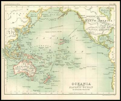 c1912 Map of OCEANIA PACIFIC OCEAN on Mercators Projection Chart Regions (BS72)