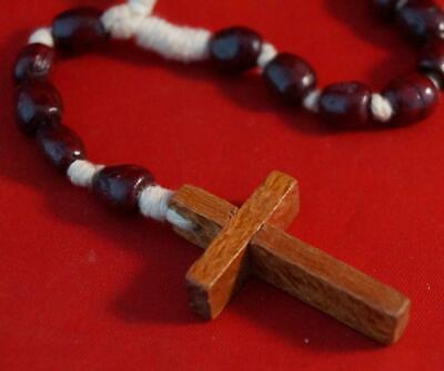 Vintage Wood Crucifix Religious Medallion Pendant & Beads