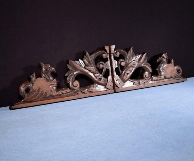 *French Antique Hunting Oak Wood Brackets with Griffins Salvage