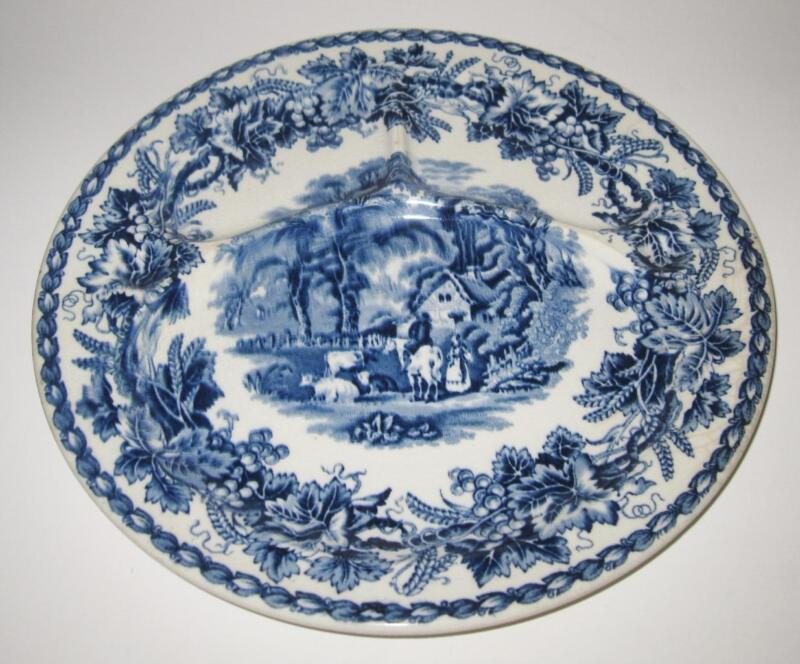"""Booths BRITISH SCENERY Antique Blue Divided Plate Grill, 10 1/2"""""""