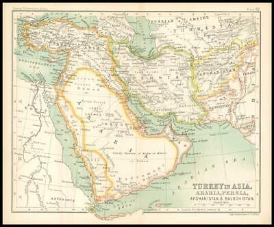 c1912 Map of TURKEY IN ASIA ARABIA PERSIA AFGHANISTAN BULUCHISTAN Regions (BS36)