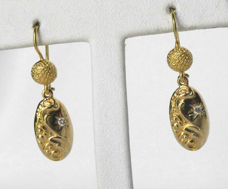 "14k Gold Victorian Revival Art Nouveau Oval Diamond Drop Dangle Earrings 1.25"""