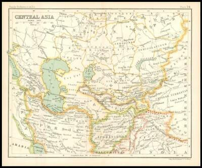 c1912 Map of CENTRAL ASIA Chart Regions (BS38)