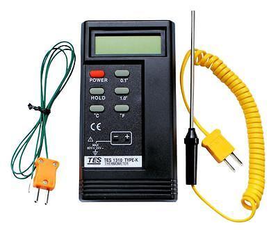 K Type Tes 1310 Digital Thermocouple Thermometer 2 X Probes 1300c Bga Hvac