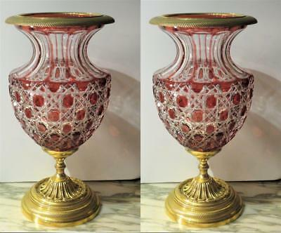 EXQUISITE PAIR OF RARE BEAUTIFUL EMPIRE RED CRYSTAL BACARRAT STYLE VASE URNS!!